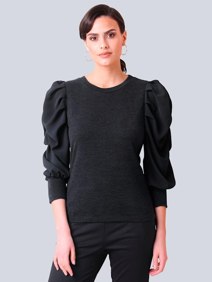 Alba Moda Pullover in schönem Materialmix, Marineblau
