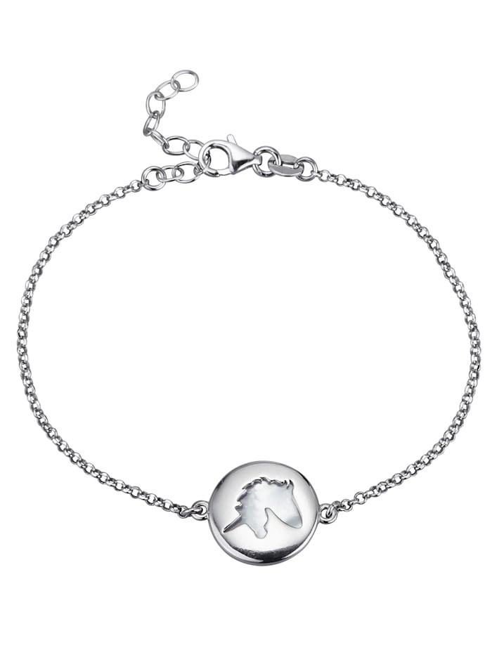 Armband mit weißem Perlmutt, Silberfarben