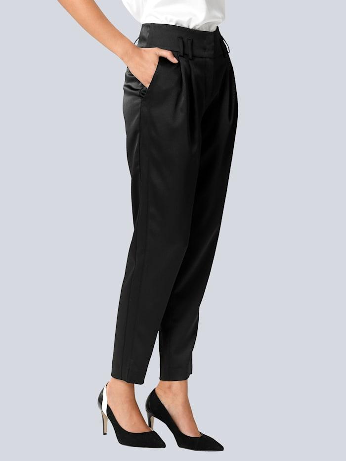 Alba Moda Broek van chique, gesatineerde stof, Zwart