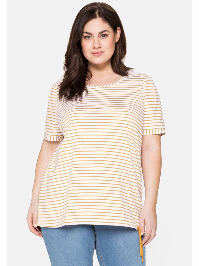 Sheego T-Shirt mit Ringeln und Kordelzug am Saum, senfgelb bedruckt