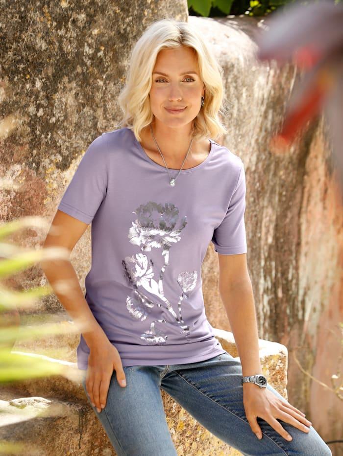 Paola Shirt met gebloemde folieprint voor, Lila