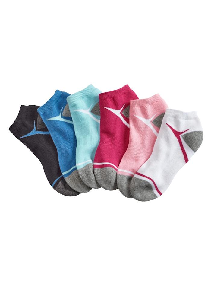 Blue Moon Sneakersokken, Wit/Roze/Pink/Turquoise/Royal blue/Zwart