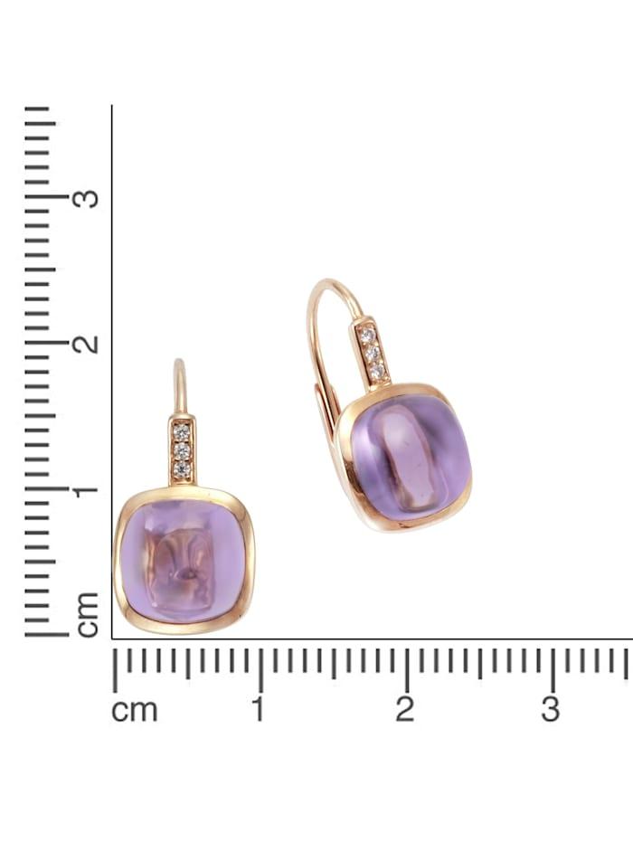 Ohrhänger 585/- Rotgold Amethyst Brillant 585/- Gold Amethyst lila 1,8cm Glänzend 0,03ct 585/- Gold
