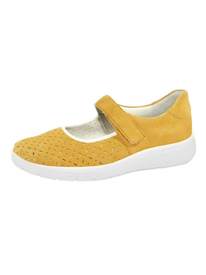 Vamos Velcro shoes with shock absorbing sole, Yellow