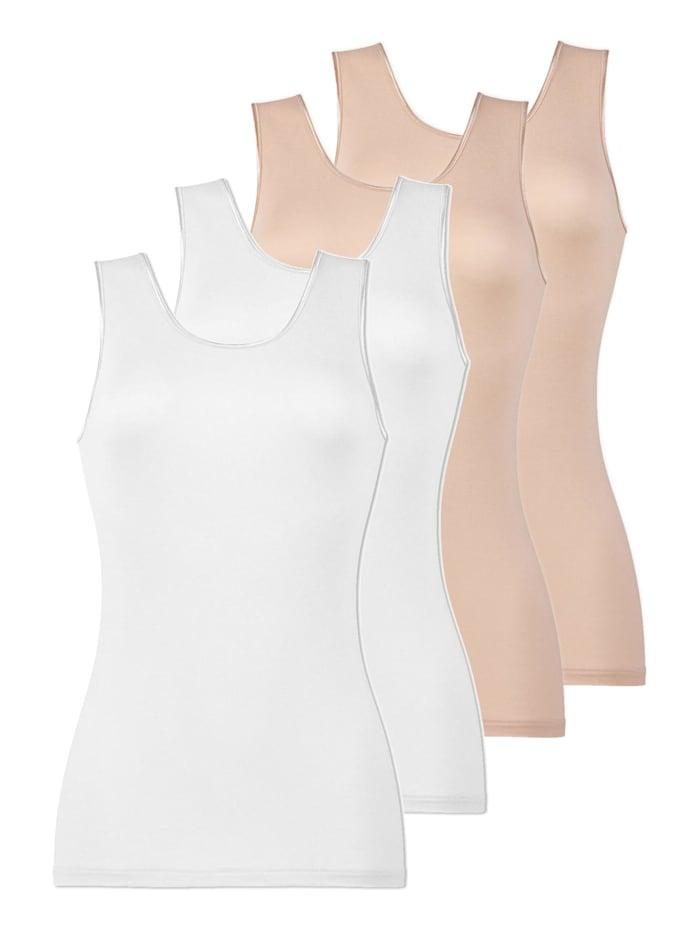 Naturana 4er Sparpack Damen Unterhemd, Skin-Weiss