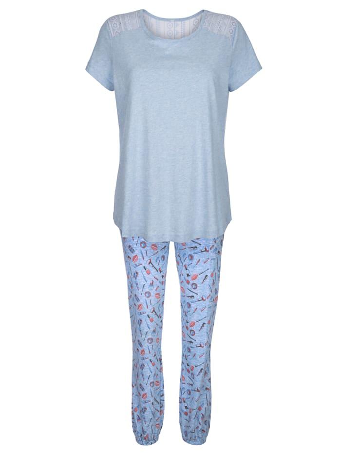Simone Pyjamas with lace detailing, Light Blue/Terracotta