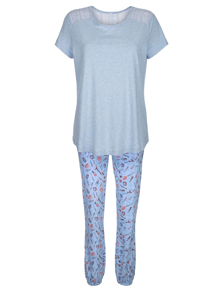 Schlafanzug mit hübschem Spitzeneinsatz hinten