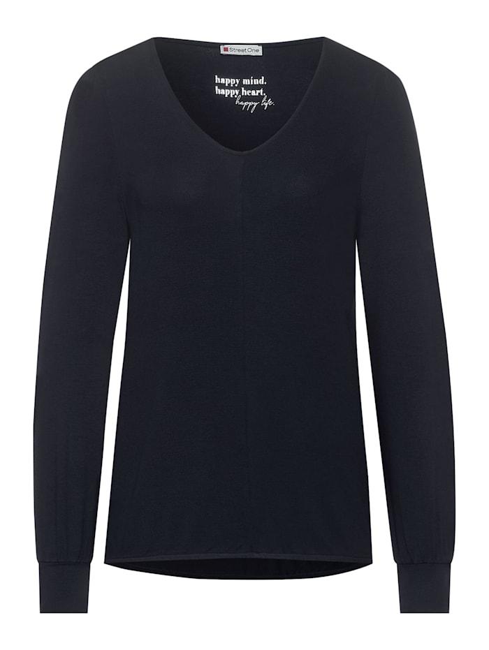 Street One Shirt mit V-Ausschnitt, dark blue
