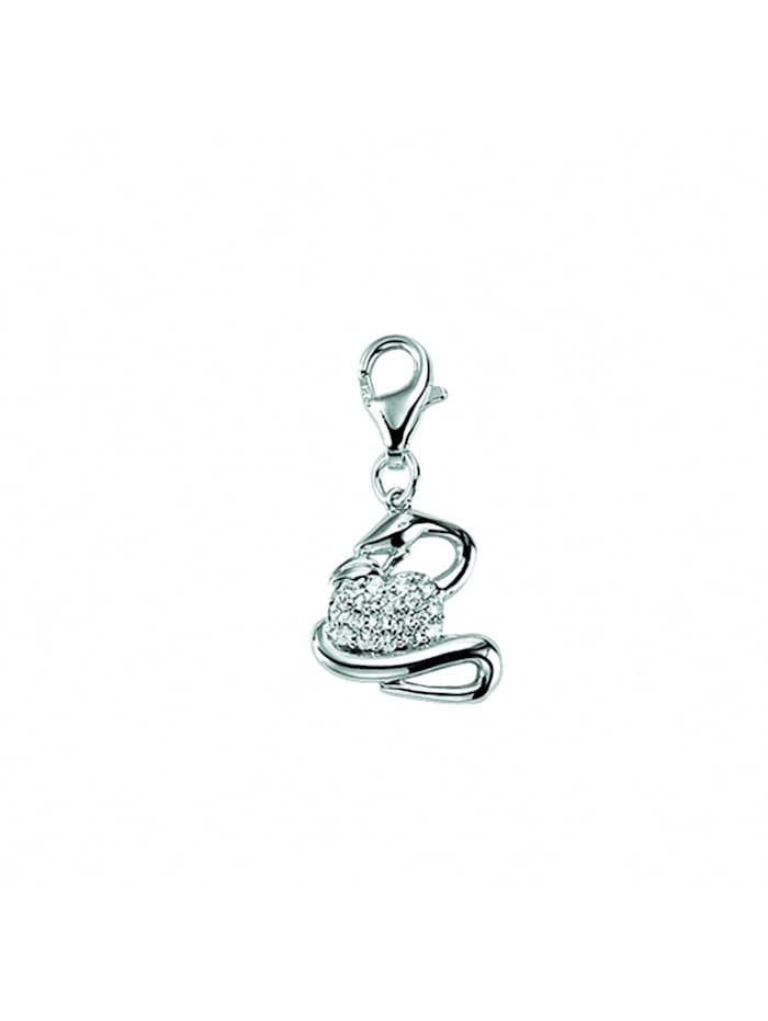 1001 Diamonds Damen Silberschmuck 925 Silber Charms Anhänger Schlange mit Zirkonia, silber