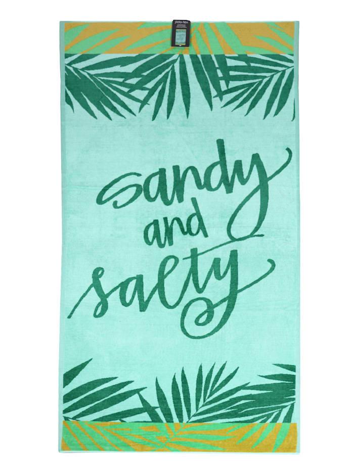 jilda-tex Strandtuch Velour 'Sandy and Salty', Grün