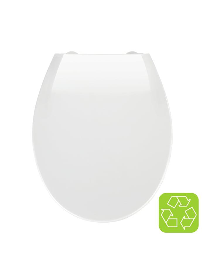 Wenko Premium WC-Sitz Kos Weiß, Thermoplast, mit Absenkautomatik, Weiß, Befestigung: Silber matt