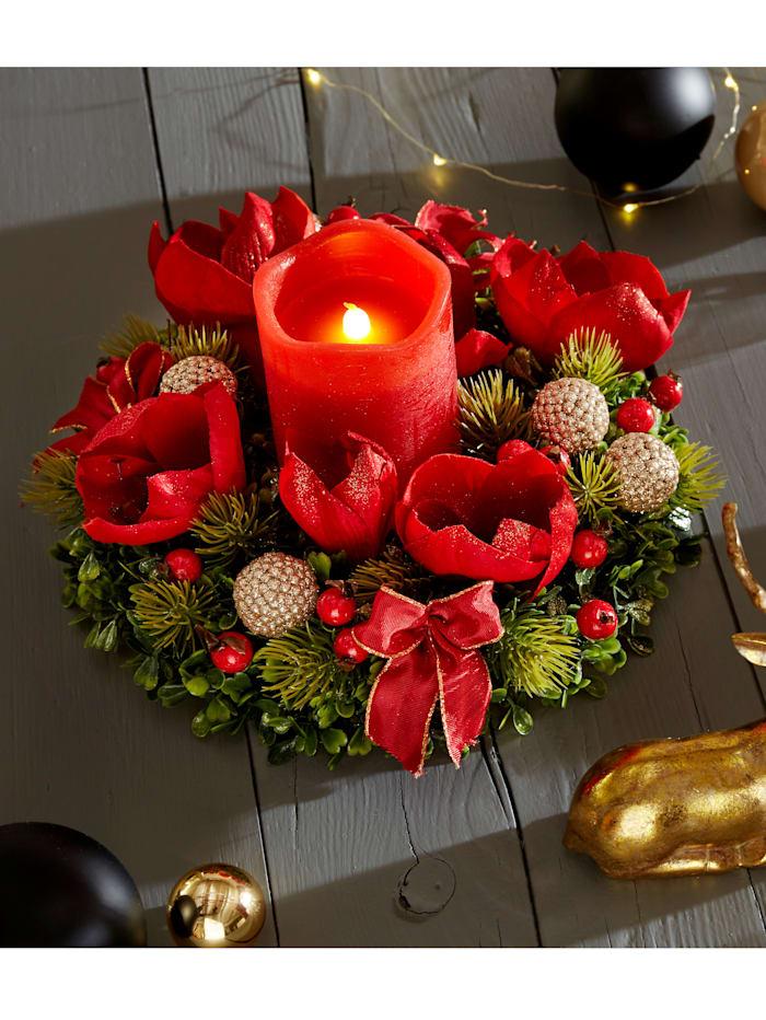 Tewa Bordskrans med amaryllis och LED-ljus, Röd