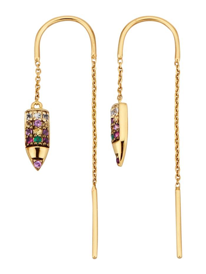 Diemer Farbstein Ohrringe-Durchzieher mit Saphiren, Multicolor