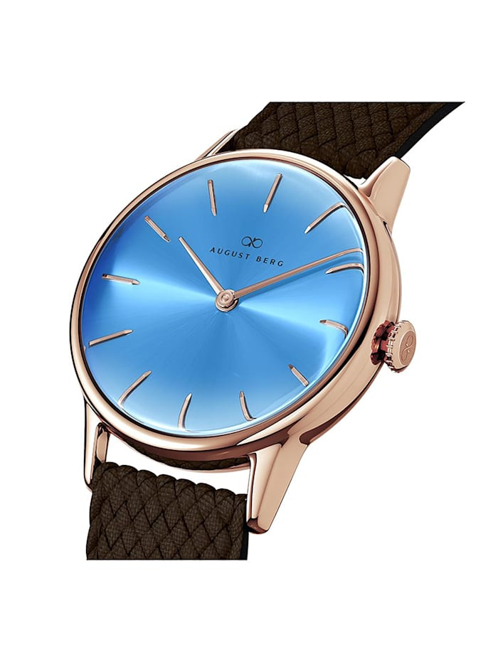 Uhr Serenity Sky Blue Dark Brown Perlon 32mm