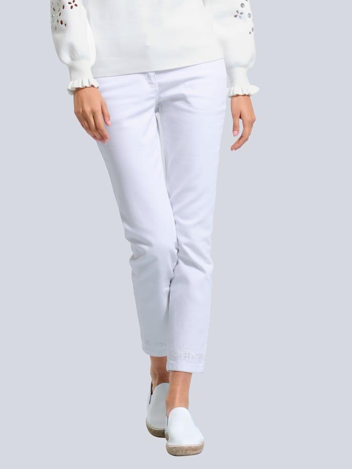 Alba Moda Jeans mit Lochstickerei aum Saumabschluss, Off-white
