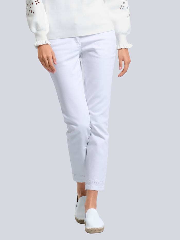 Alba Moda Jeans met opengewerkt borduursel, Offwhite