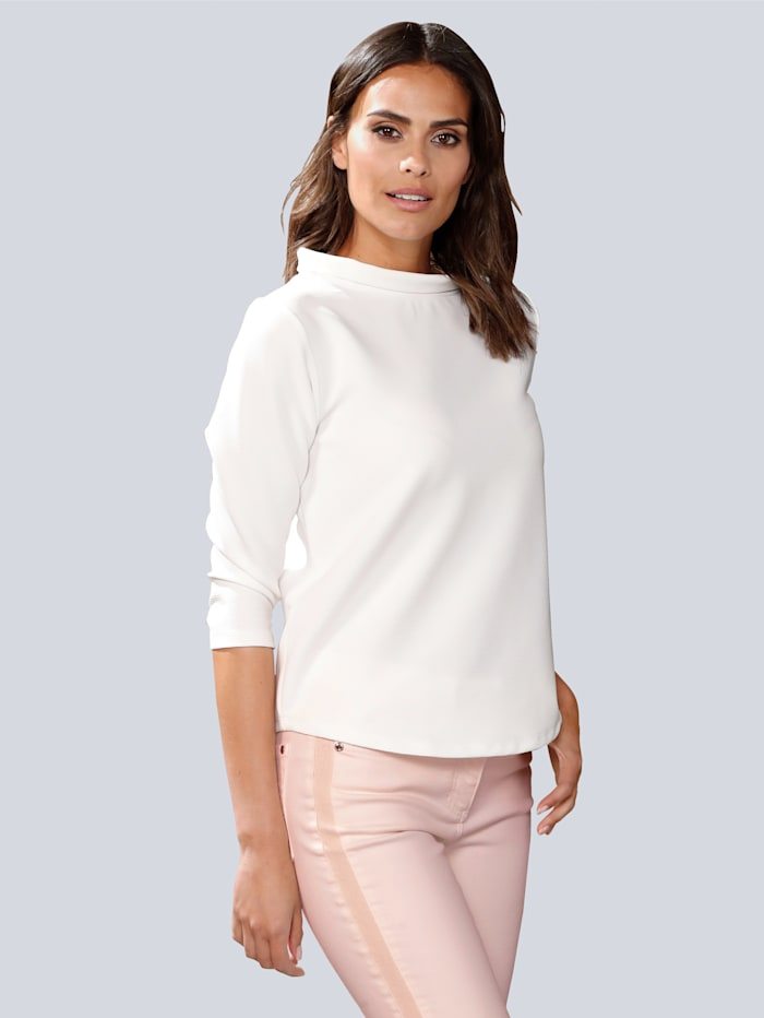 Alba Moda T-shirt à col montant, Blanc cassé