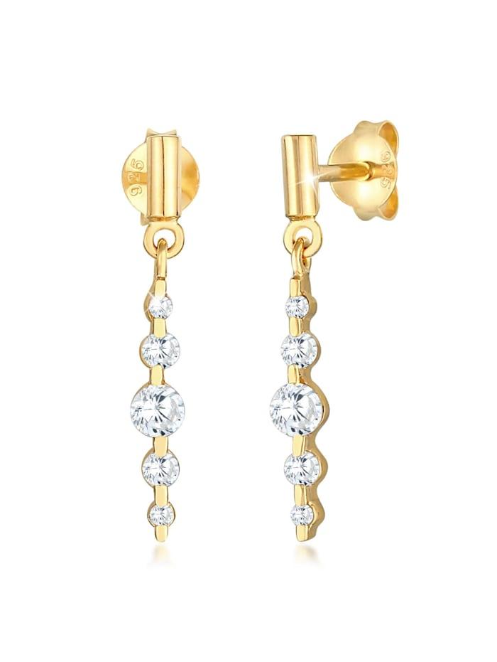 Elli Ohrringe Ohrstecker Klassisch Zirkonia Glamour 925 Silber, Gold