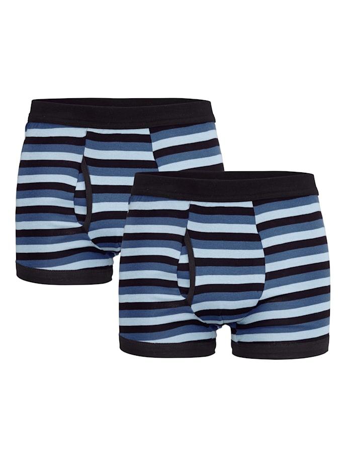 Boxershorts met trendy streeppatroon 2 stuks, 2x zwart/blauw