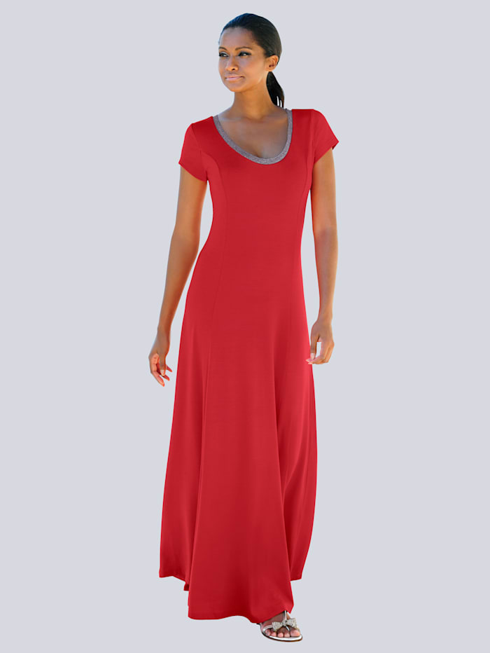 Alba Moda Strandkleid mit Silberlurex abgesetzt, Rot