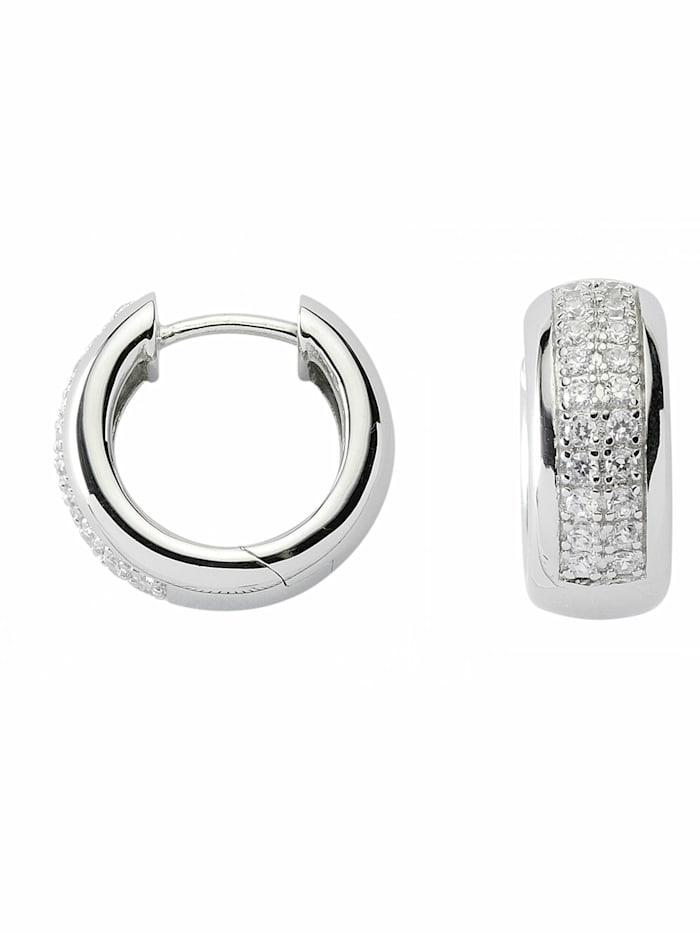 1001 Diamonds 1001 Diamonds Damen Silberschmuck 925 Silber Ohrringe / Creolen mit Zirkonia Ø 17,3 mm, silber