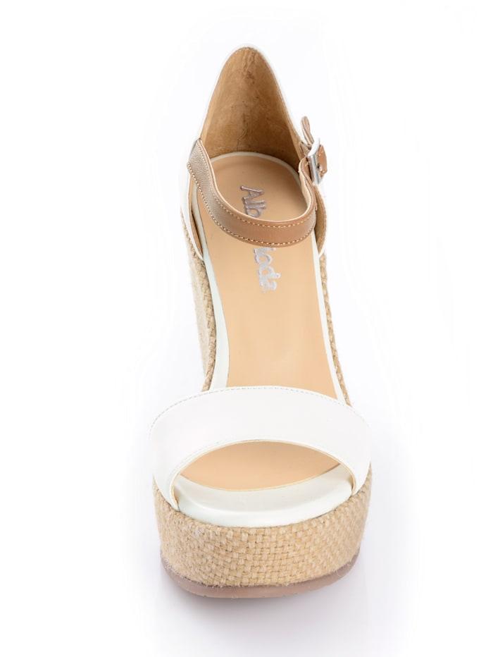 Sandalette mit Keil in Juteoptik