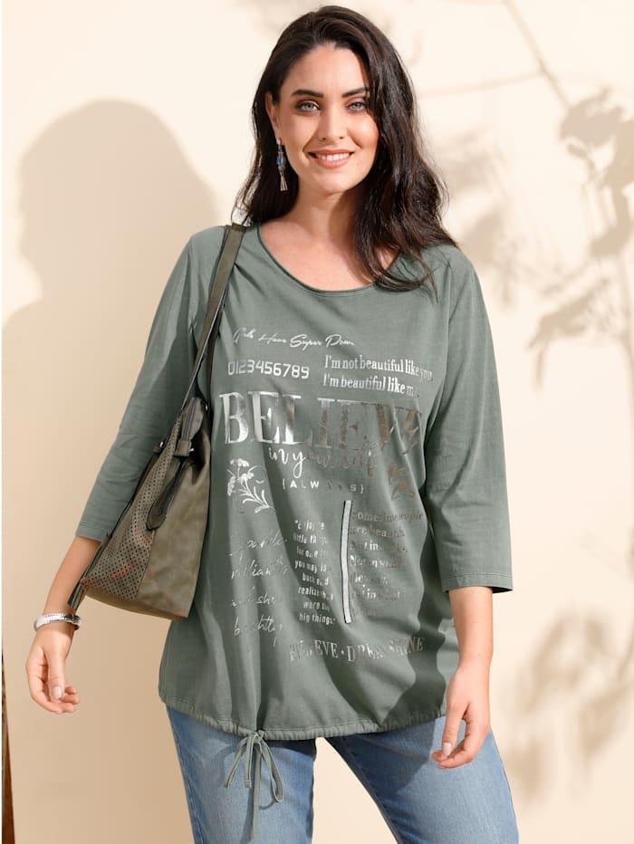 MIAMODA Shirt in Oil Washed Optik, Grün