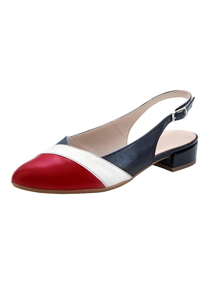 Naturläufer Slingback shoes in complementary colours, Navy/White/Red