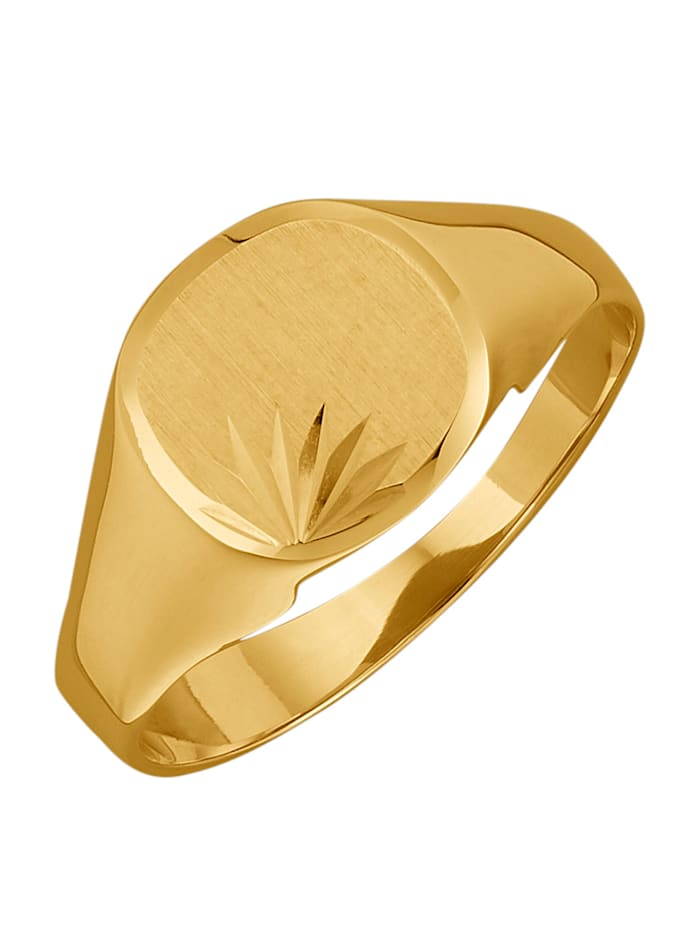 Herrenring diamantiert, Gelbgoldfarben