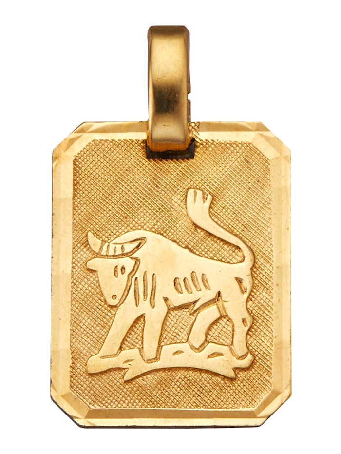 KLiNGEL Sternzeichen-Anhänger Stier, Gelbgoldfarben