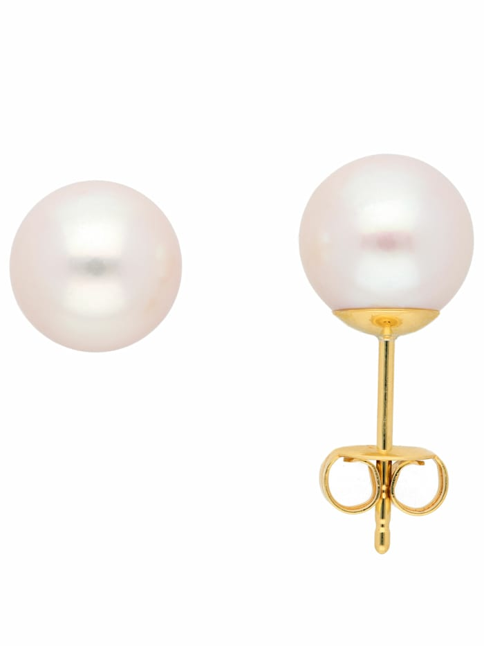 1001 Diamonds Damen Goldschmuck 333 Gold Ohrringe / Ohrstecker mit Süßwasser Zuchtperle Ø 8 mm, gold