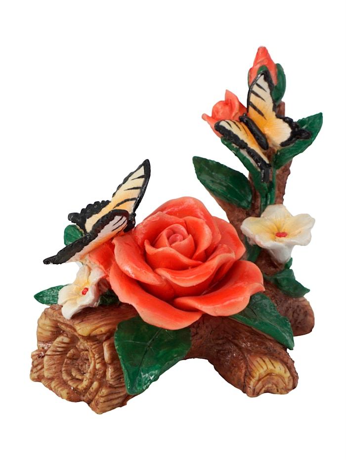 Dekoration 'Rosen mit Schmetterlingen', bunt