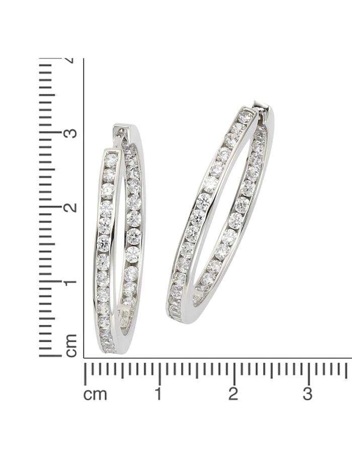 Klappcreolen 925/- Sterling Silber Zirkonia weiß 3,2cm Glänzend 925/- Sterling Silber