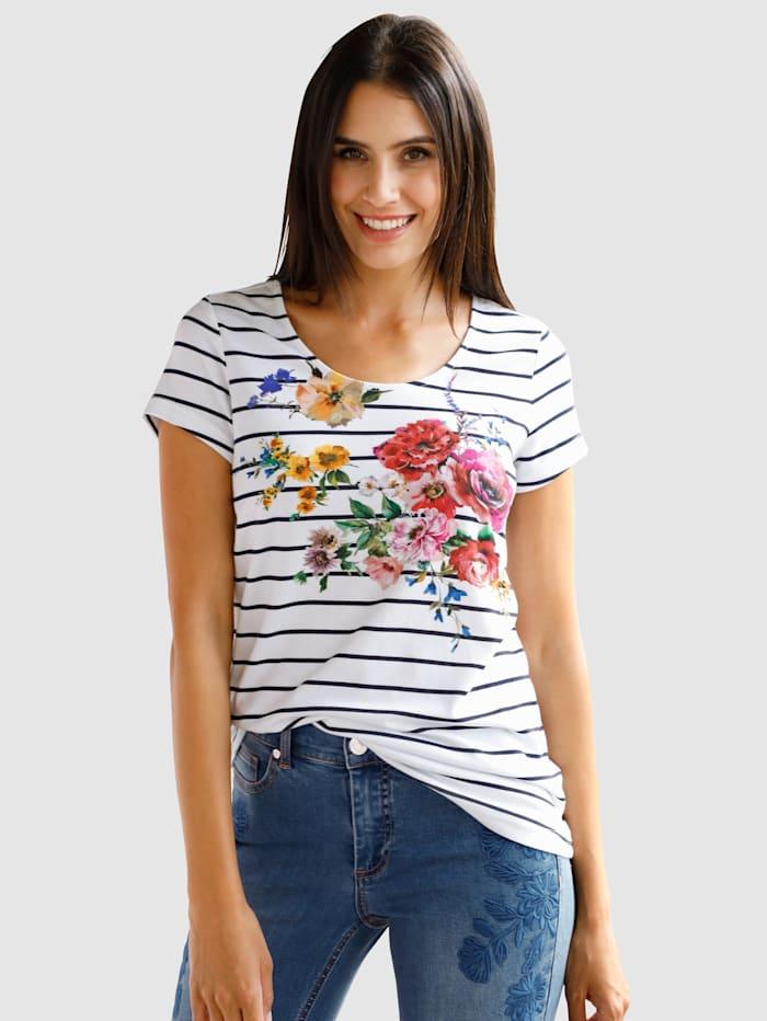 Laura Kent T-shirt à motif fleuri devant, Blanc/Marine/Rouge
