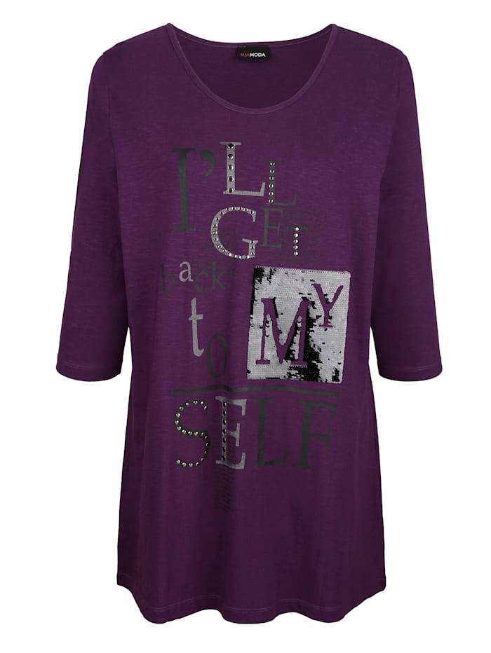 T-shirt long à rivets fantaisie