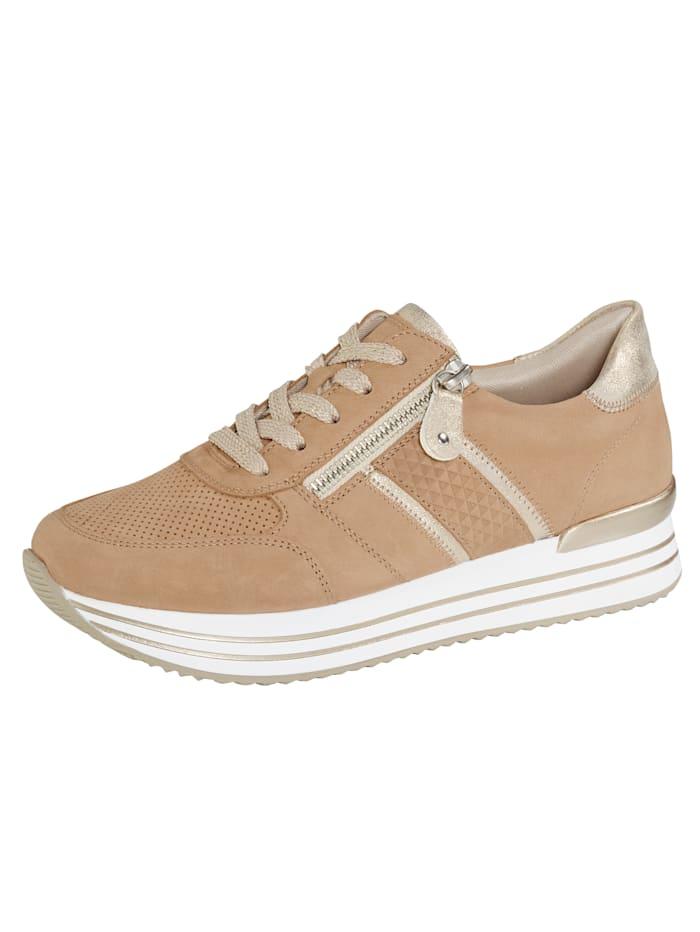 Remonte Sneaker met zomerse perforaties, Zand