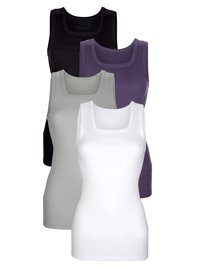 HERMKO Achselhemd in langer Form, Weiß/Schwarz/Lila/Grau