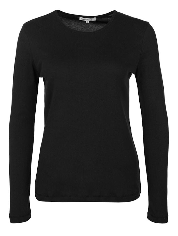 munich freedom Langarmshirt mit Rundhalsausschnitt Applikation, schwarz