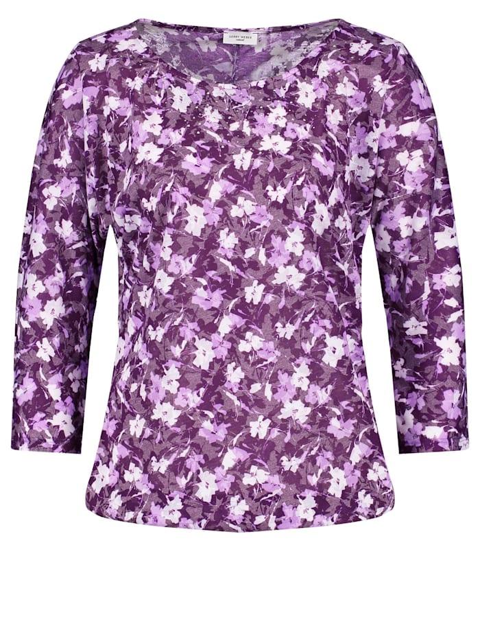Gerry Weber 3/4 Arm Shirt mit Steinchenzier, Lila/Pink Druck