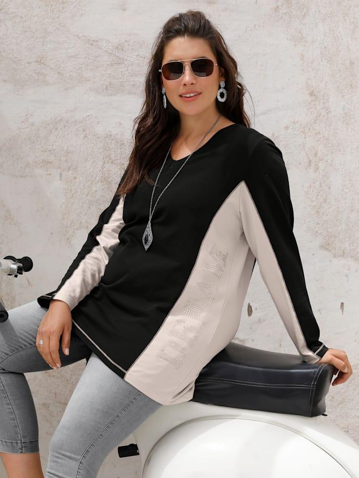 MIAMODA Sweat-shirt avec rivets, Noir/Beige