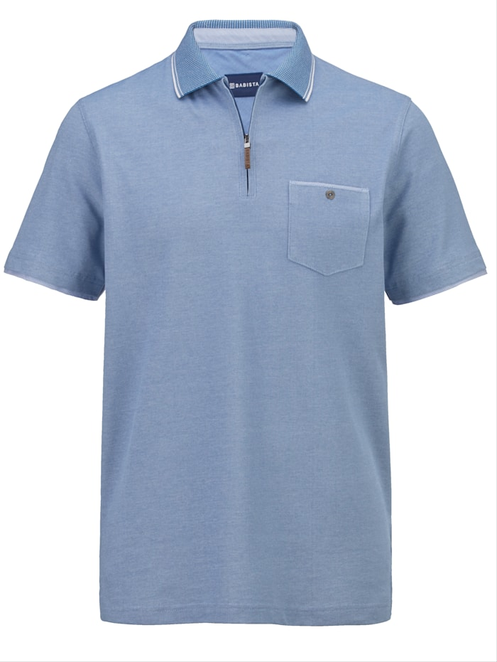 BABISTA Poloshirt van bicolor piquémateriaal, Blauw