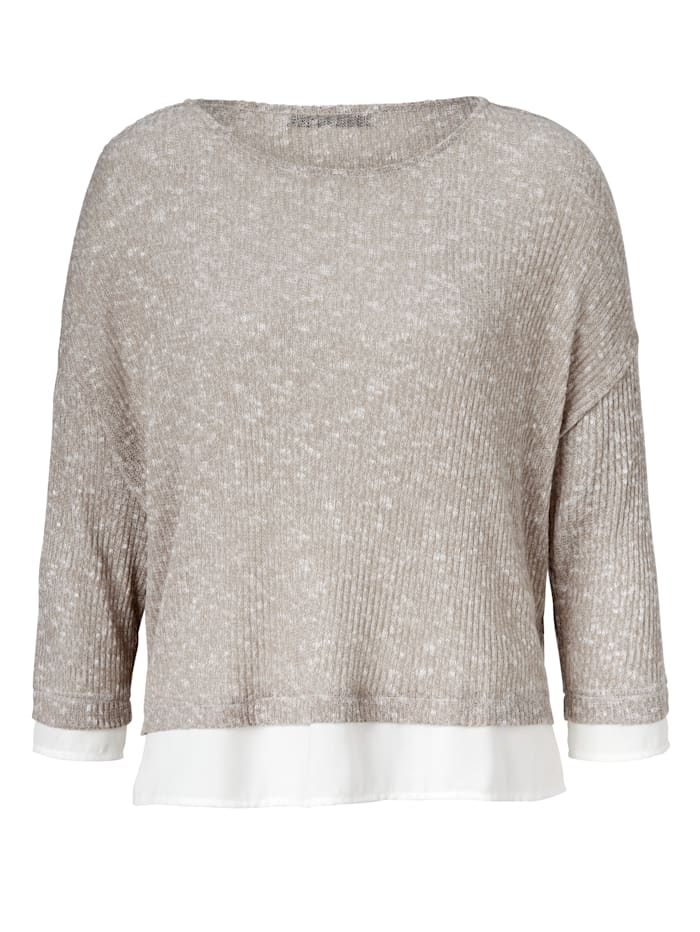 OUI Strickpullover Im Material Mix, Beige