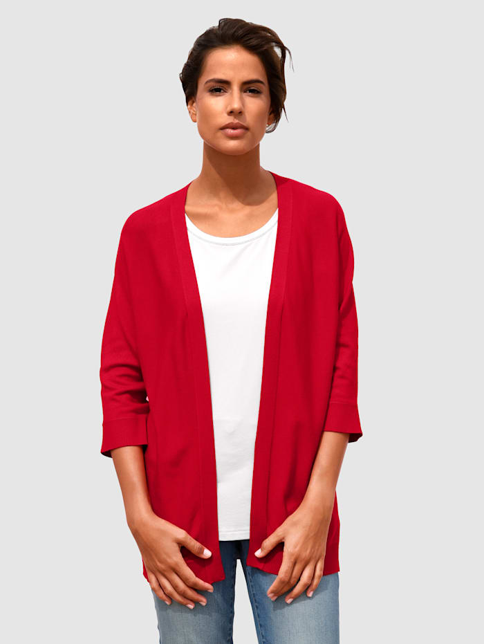 basically you Strickjacke in offener Form, Rot