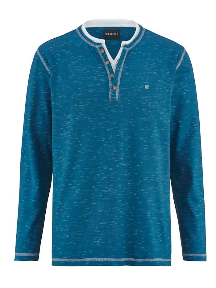 BABISTA T-shirt col tunisien en fil flammé bicolore, Bleu
