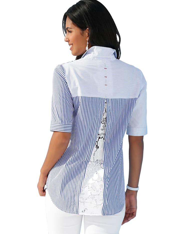 Bluse mit transparentem Spitzeneinsatz im Rückteil