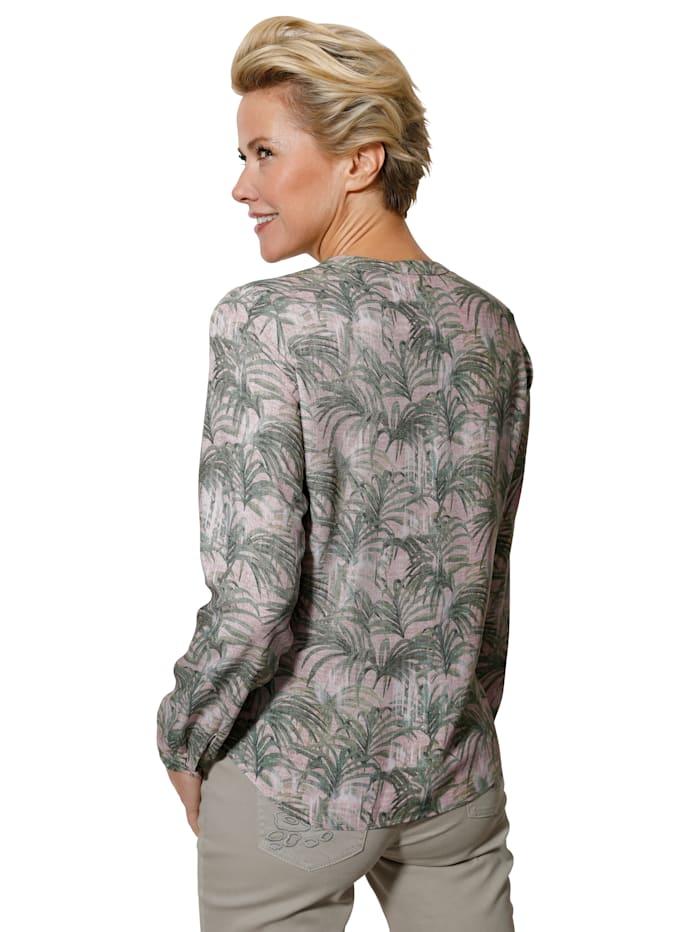 Bluse mit exotischem Blätter-Druck