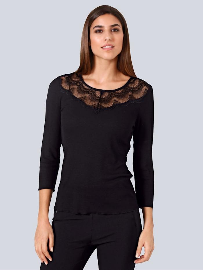 Alba Moda Shirt mit dekorativem Spitzeneinsatz, Schwarz