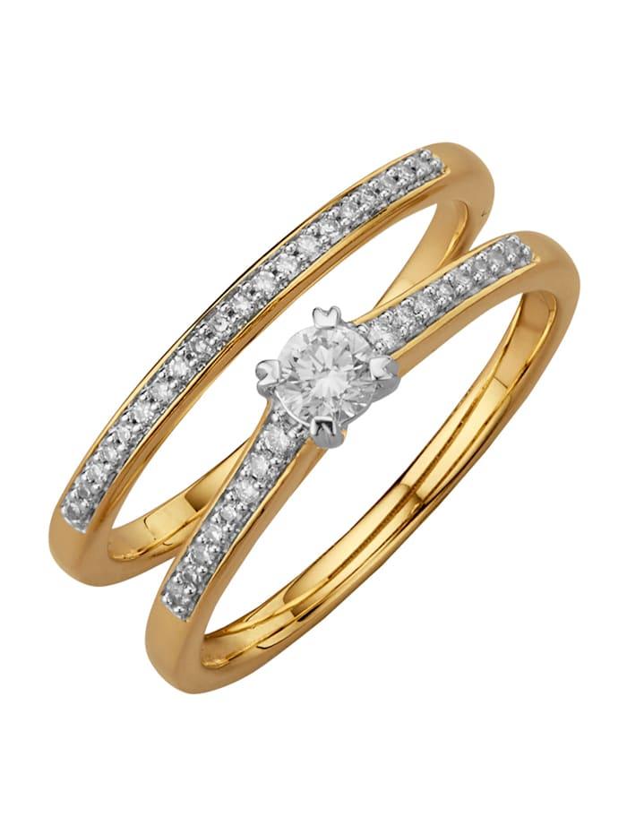 2tlg. Damenring-Set mit Diamanten, Gelbgoldfarben