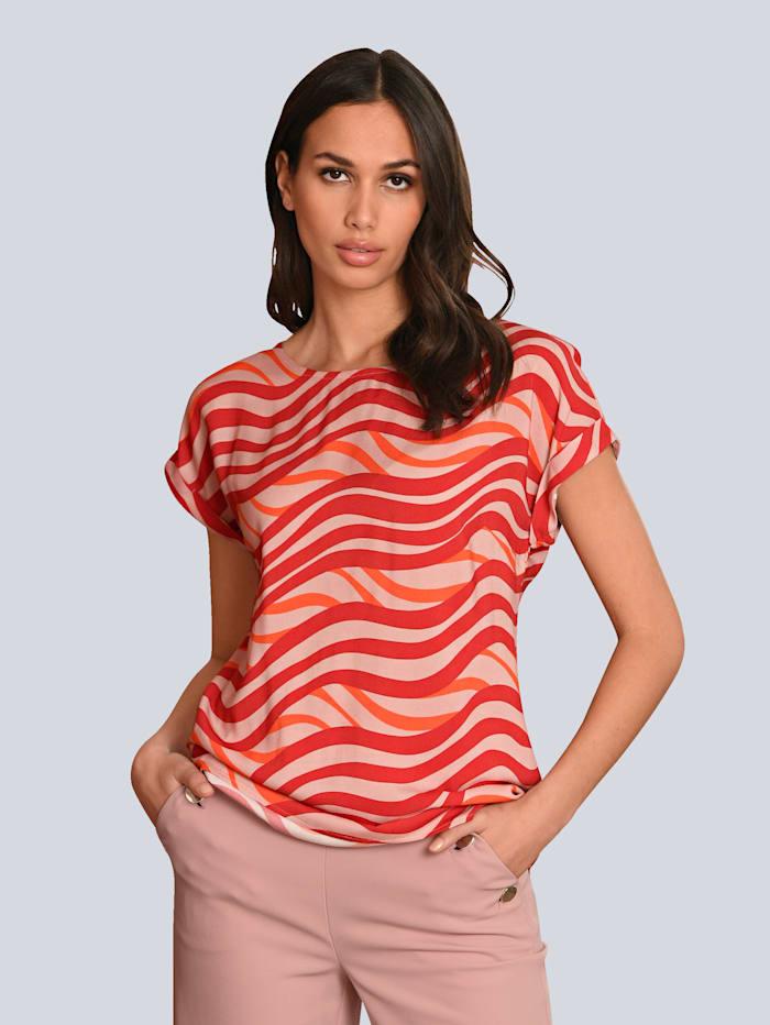 Alba Moda Blouse met kleurrijk dessin, Rood/Roze/Oranje