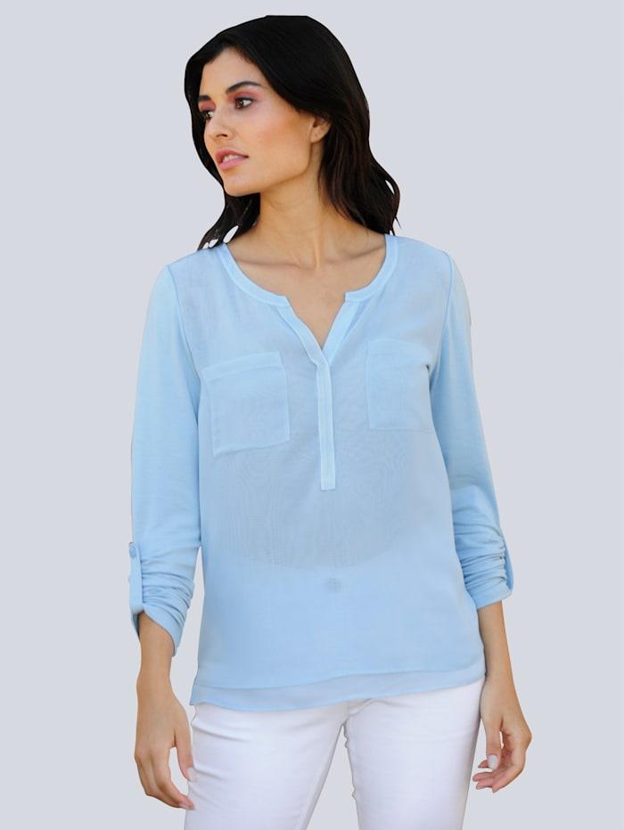 Alba Moda Shirt im Material-Mix, Blau